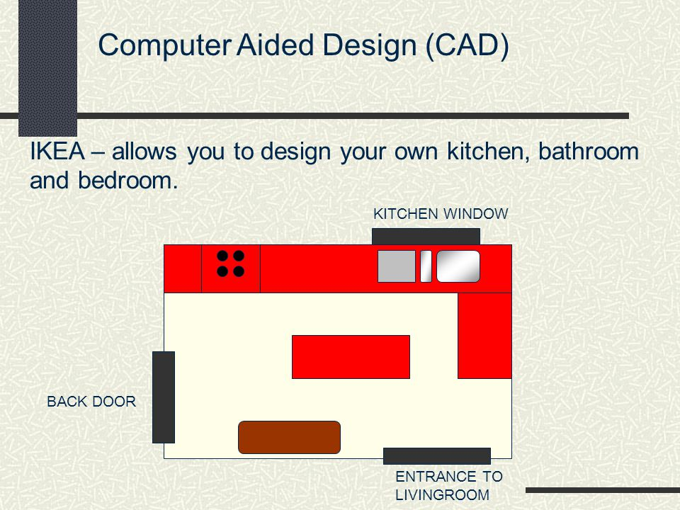 Computer Aided Design (CAD) IKEA – allows you to design your own kitchen, bathroom and bedroom.
