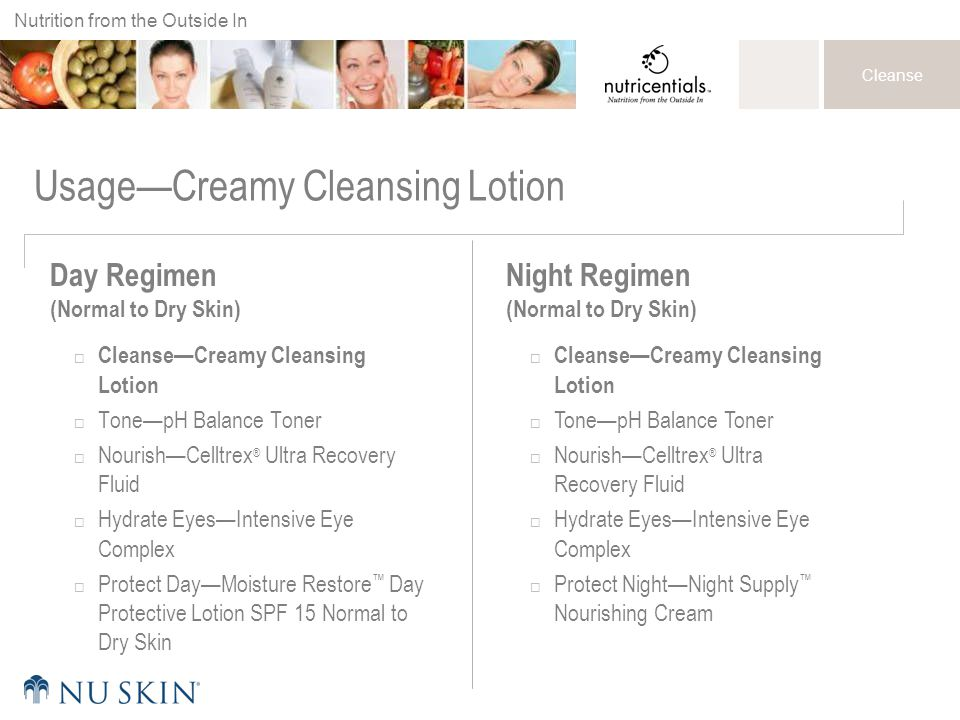 Nutrition from the Outside In Cleanse Usage—Creamy Cleansing Lotion Day Regimen (Normal to Dry Skin)  Cleanse—Creamy Cleansing Lotion  Tone—pH Balan