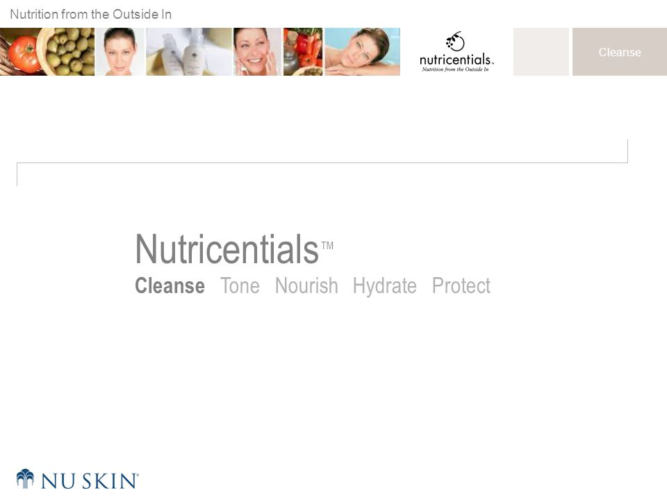 Nutrition from the Outside In Cleanse Nutricentials ™ Cleanse Tone Nourish Hydrate Protect