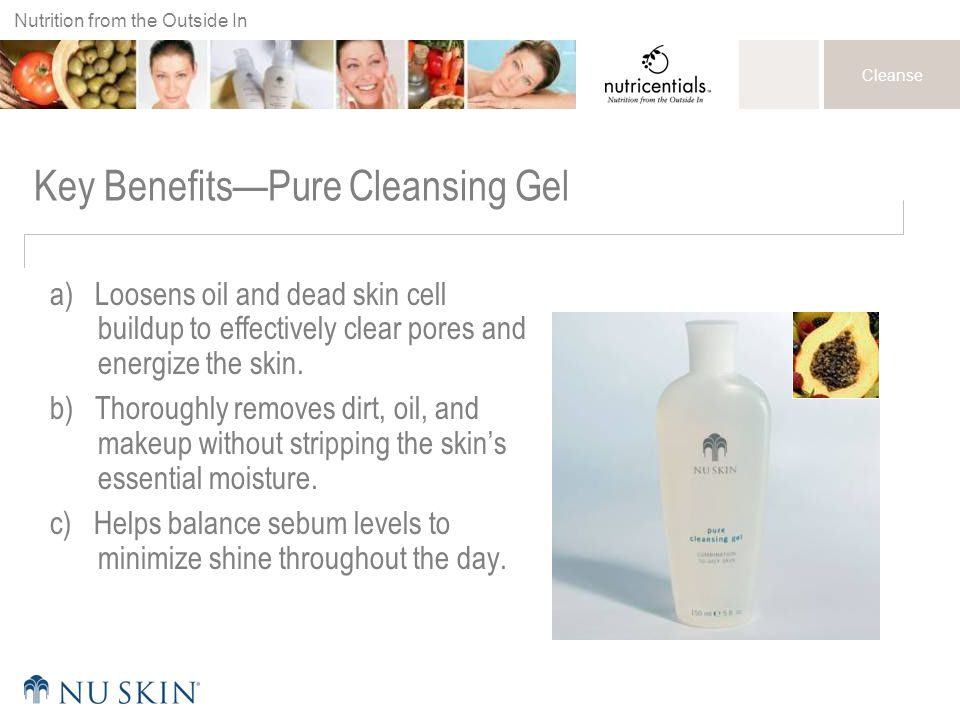 Nutrition from the Outside In Cleanse Key Benefits—Pure Cleansing Gel a) Loosens oil and dead skin cell buildup to effectively clear pores and energiz