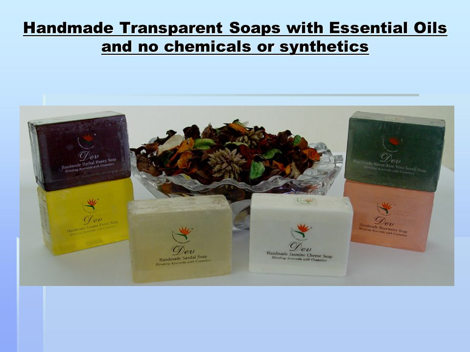 Handmade Transparent Soaps with Essential Oils and no chemicals or synthetics