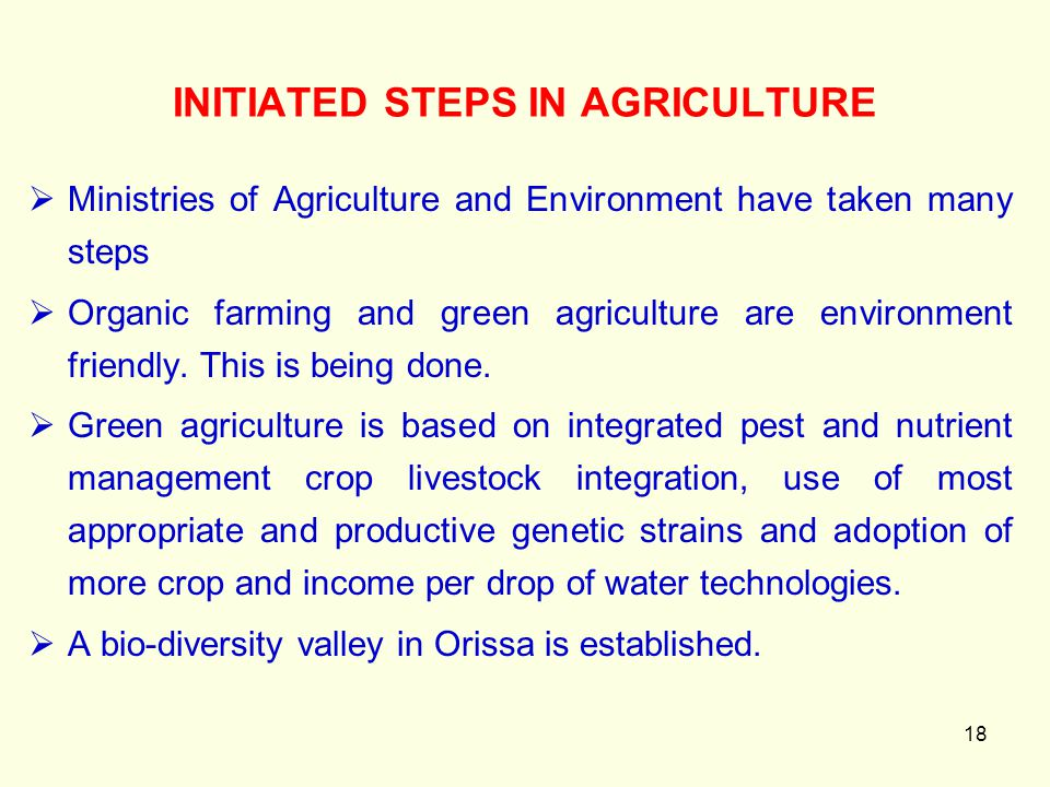 18 INITIATED STEPS IN AGRICULTURE  Ministries of Agriculture and Environment have taken many steps  Organic farming and green agriculture are enviro
