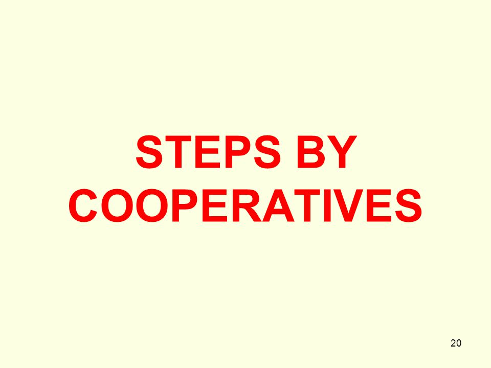 20 STEPS BY COOPERATIVES