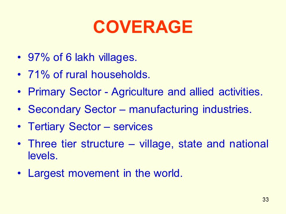 33 COVERAGE 97% of 6 lakh villages. 71% of rural households.