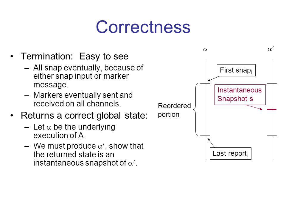 Correctness Termination: Easy to see –All snap eventually, because of either snap input or marker message.