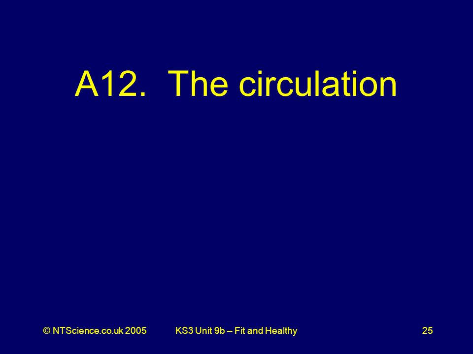 © NTScience.co.uk 2005KS3 Unit 9b – Fit and Healthy25 A12. The circulation