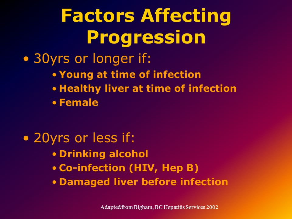 Factors Affecting Progression 30yrs or longer if: Young at time of infection Healthy liver at time of infection Female 20yrs or less if: Drinking alcohol Co-infection (HIV, Hep B) Damaged liver before infection Adapted from Bigham, BC Hepatitis Services 2002