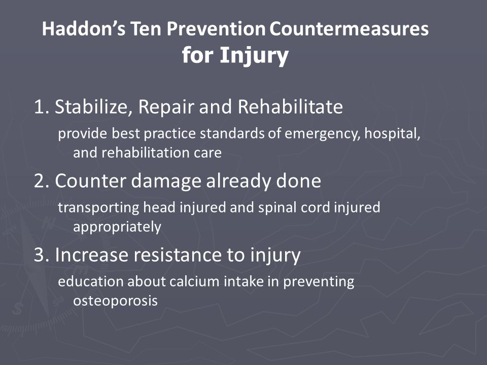 Haddon's Ten Prevention Countermeasures for Injury 1.