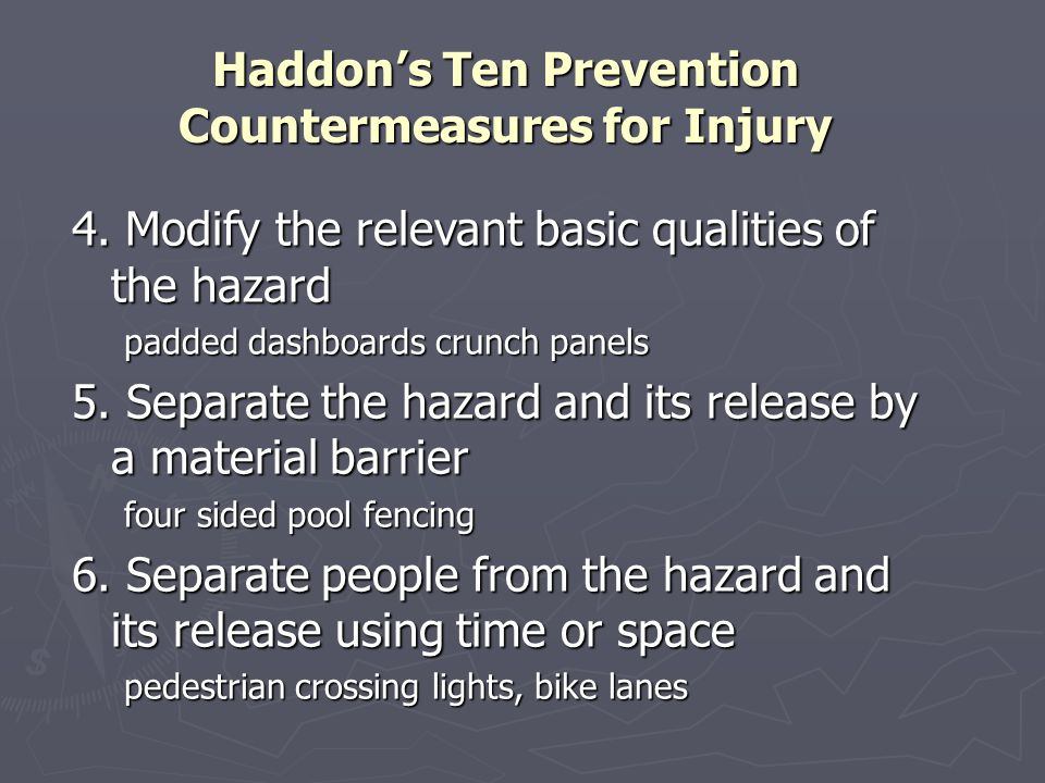 Haddon's Ten Prevention Countermeasures for Injury 4. Modify the relevant basic qualities of the hazard padded dashboards crunch panels 5. Separate th
