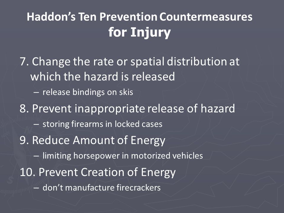 Haddon's Ten Prevention Countermeasures for Injury 7.
