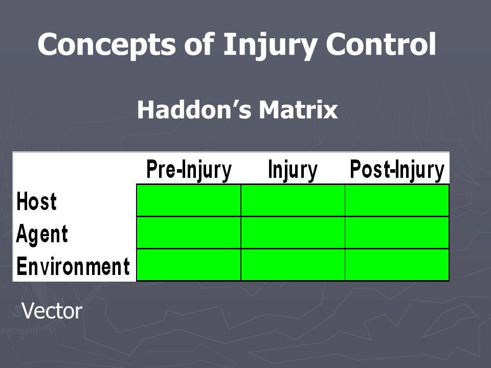 Concepts of Injury Control Haddon's Matrix Vector