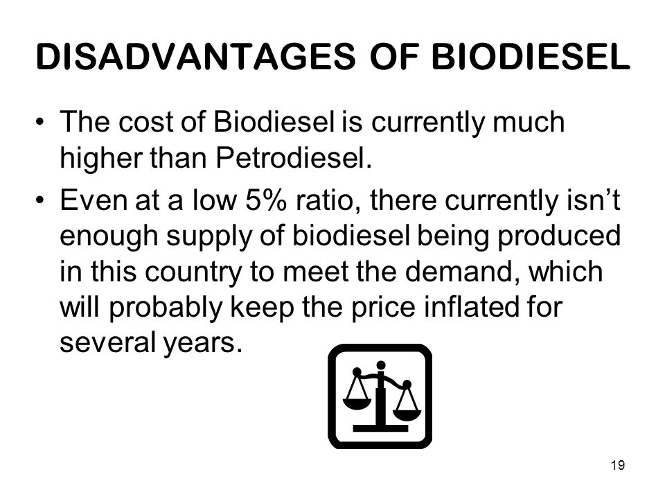 19 DISADVANTAGES OF BIODIESEL The cost of Biodiesel is currently much higher than Petrodiesel.