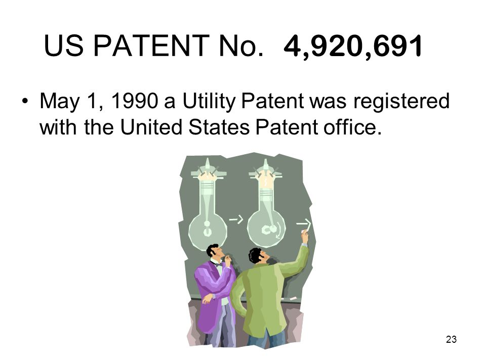 23 US PATENT No. May 1, 1990 a Utility Patent was registered with the United States Patent office. 4,920,691
