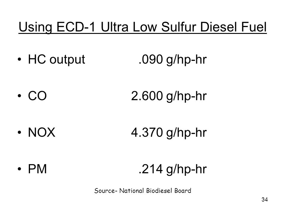 34 Using ECD-1 Ultra Low Sulfur Diesel Fuel HC output.090 g/hp-hr CO2.600 g/hp-hr NOX4.370 g/hp-hr PM.214 g/hp-hr Source- National Biodiesel Board