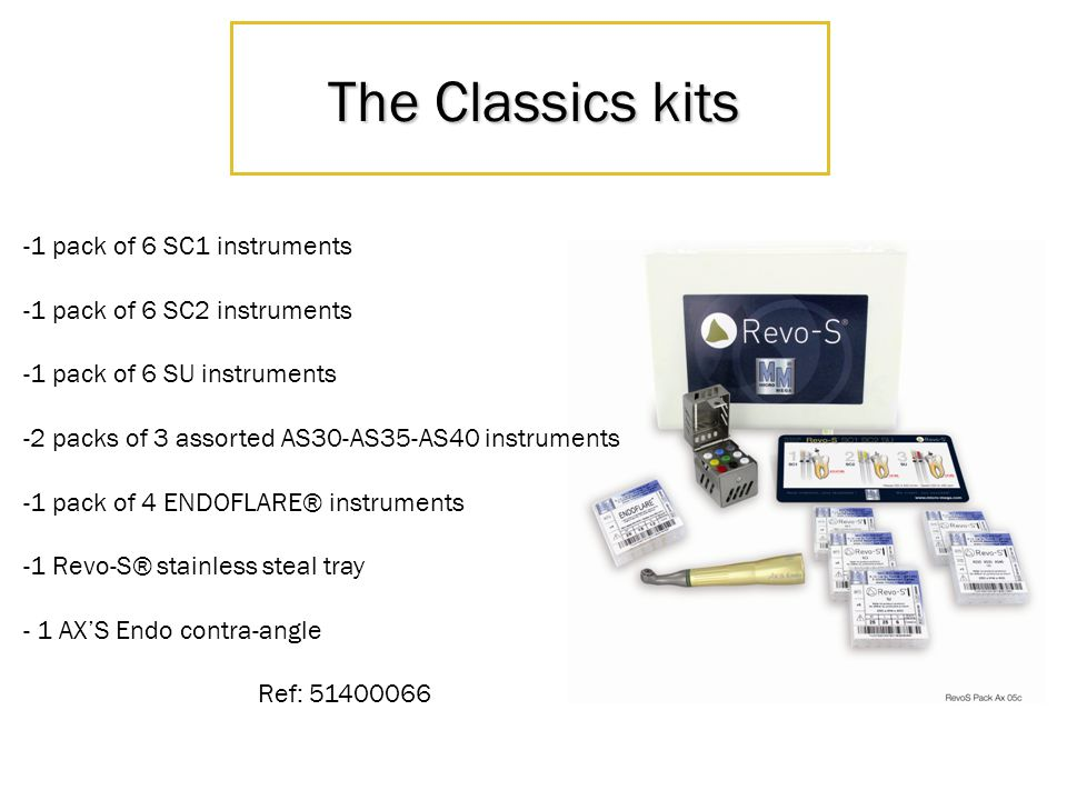 The Classics kits -1 pack of 6 SC1 instruments -1 pack of 6 SC2 instruments -1 pack of 6 SU instruments -2 packs of 3 assorted AS30-AS35-AS40 instrume