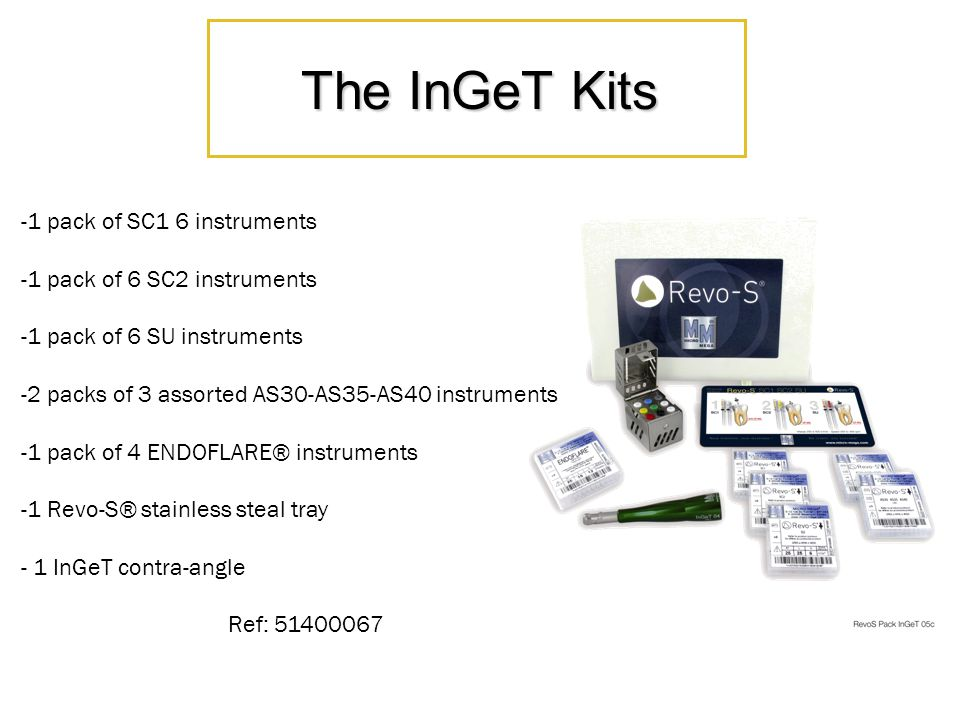 The InGeT Kits -1 pack of SC1 6 instruments -1 pack of 6 SC2 instruments -1 pack of 6 SU instruments -2 packs of 3 assorted AS30-AS35-AS40 instruments