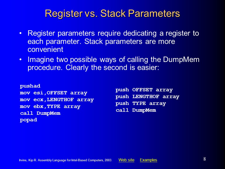 Web siteWeb site ExamplesExamples Irvine, Kip R. Assembly Language for Intel-Based Computers, 2003.