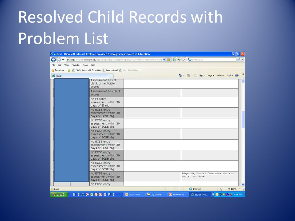 Resolved Child Records with Problem List