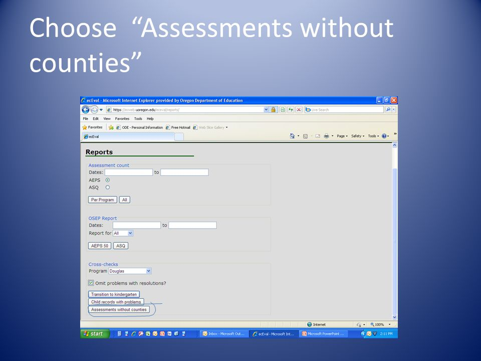 Choose Assessments without counties