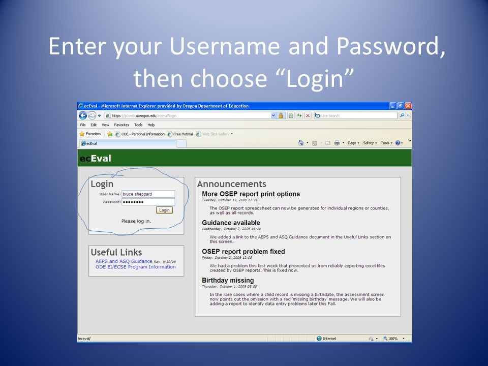 Enter your Username and Password, then choose Login