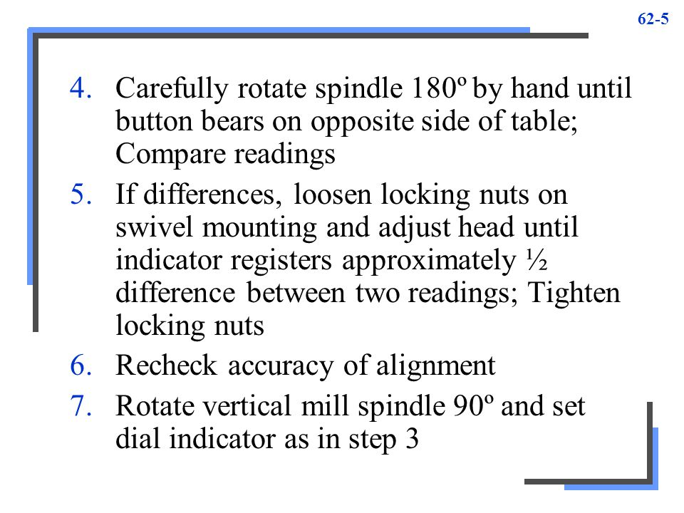 62-5 4.Carefully rotate spindle 180º by hand until button bears on opposite side of table; Compare readings 5.If differences, loosen locking nuts on s