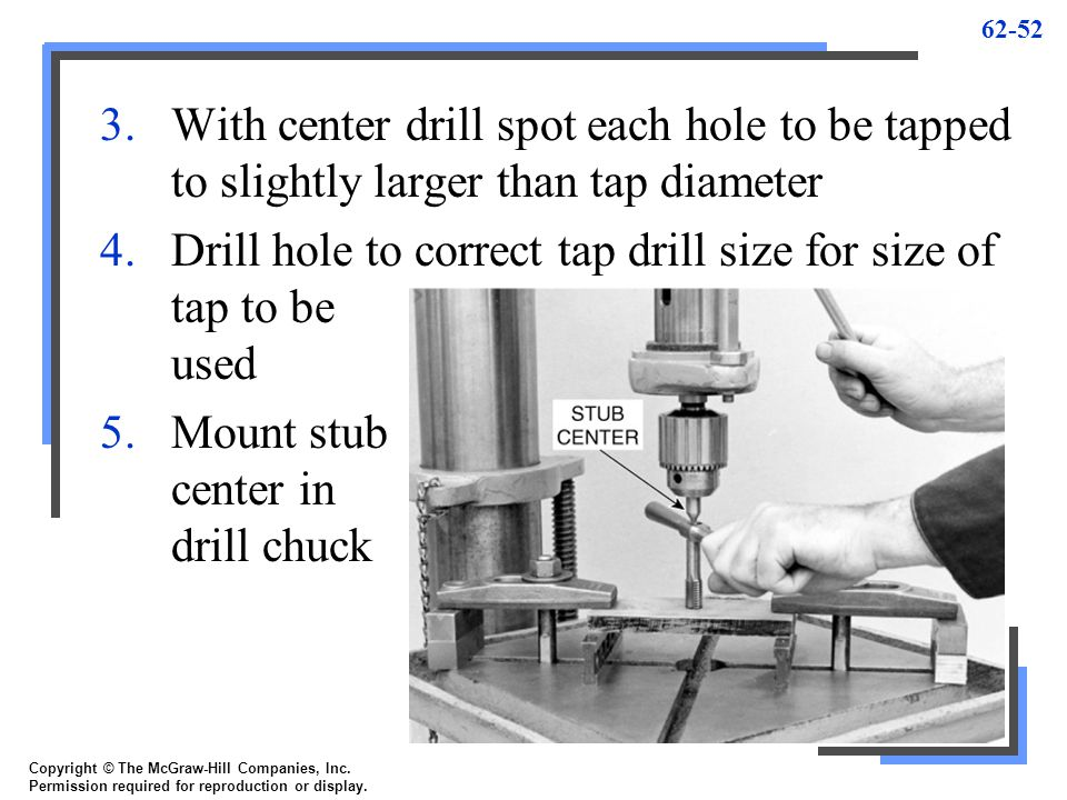 62-52 3.With center drill spot each hole to be tapped to slightly larger than tap diameter 4.Drill hole to correct tap drill size for size of tap to b