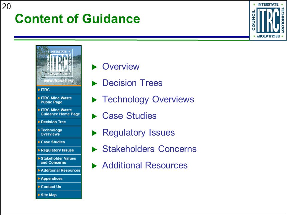 20 Content of Guidance  Overview  Decision Trees  Technology Overviews  Case Studies  Regulatory Issues  Stakeholders Concerns  Additional Reso