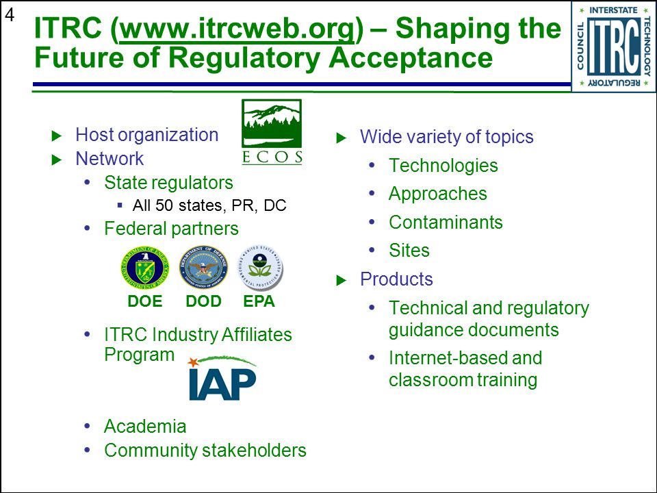 4 ITRC (www.itrcweb.org) – Shaping the Future of Regulatory Acceptance  Host organization  Network State regulators  All 50 states, PR, DC Federal