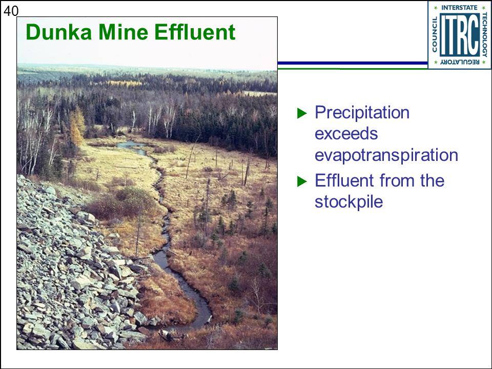 40  Precipitation exceeds evapotranspiration  Effluent from the stockpile Dunka Mine Effluent