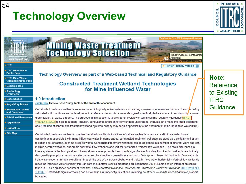 54 Technology Overview Note: Reference to Existing ITRC Guidance