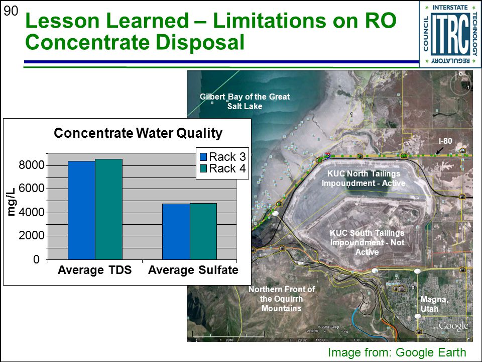 90 Lesson Learned – Limitations on RO Concentrate Disposal Magna, Utah KUC South Tailings Impoundment - Not Active KUC North Tailings Impoundment - Ac