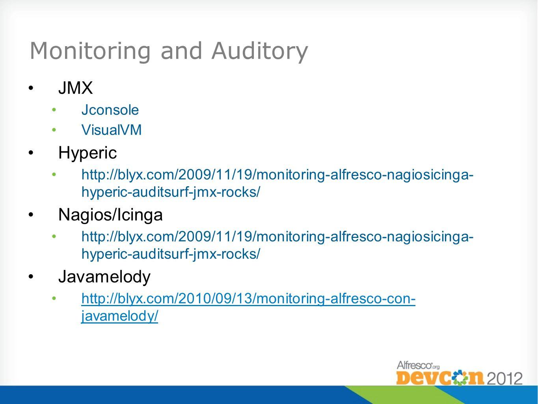 JMX Jconsole VisualVM Hyperic http://blyx.com/2009/11/19/monitoring-alfresco-nagiosicinga- hyperic-auditsurf-jmx-rocks/ Nagios/Icinga http://blyx.com/