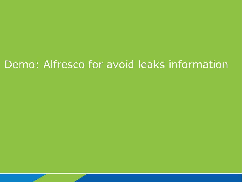 Demo: Alfresco for avoid leaks information