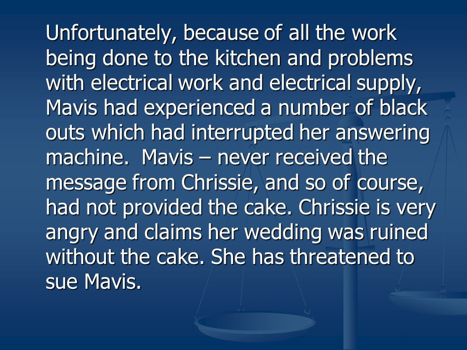 Unfortunately, because of all the work being done to the kitchen and problems with electrical work and electrical supply, Mavis had experienced a number of black outs which had interrupted her answering machine.