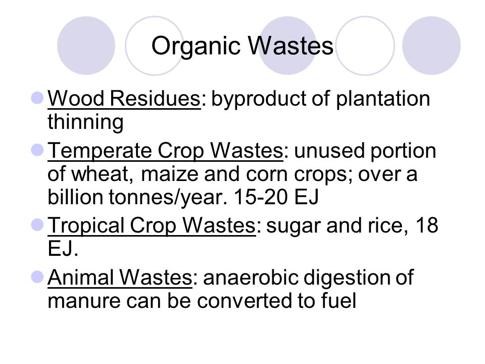 Organic Wastes Wood Residues: byproduct of plantation thinning Temperate Crop Wastes: unused portion of wheat, maize and corn crops; over a billion tonnes/year.