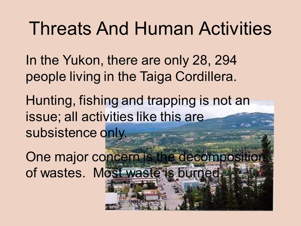 Threats And Human Activities In the Yukon, there are only 28, 294 people living in the Taiga Cordillera.