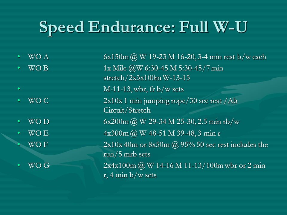 Speed Endurance: Full W-U WO A6x150m @ W 19-23 M 16-20, 3-4 min rest b/w eachWO A6x150m @ W 19-23 M 16-20, 3-4 min rest b/w each WO B 1x Mile @W 6:30-45 M 5:30-45/7 min stretch/2x3x100m W-13-15WO B 1x Mile @W 6:30-45 M 5:30-45/7 min stretch/2x3x100m W-13-15 M-11-13, wbr, fr b/w sets M-11-13, wbr, fr b/w sets WO C2x10x 1 min jumping rope/30 sec rest /Ab Circuit/StretchWO C2x10x 1 min jumping rope/30 sec rest /Ab Circuit/Stretch WO D6x200m @ W 29-34 M 25-30, 2.5 min rb/wWO D6x200m @ W 29-34 M 25-30, 2.5 min rb/w WO E4x300m @ W 48-51 M 39-48, 3 min rWO E4x300m @ W 48-51 M 39-48, 3 min r WO F2x10x 40m or 8x50m @ 95% 50 sec rest includes the run/5 mrb setsWO F2x10x 40m or 8x50m @ 95% 50 sec rest includes the run/5 mrb sets WO G2x4x100m @ W 14-16 M 11-13/100m wbr or 2 min r, 4 min b/w setsWO G2x4x100m @ W 14-16 M 11-13/100m wbr or 2 min r, 4 min b/w sets