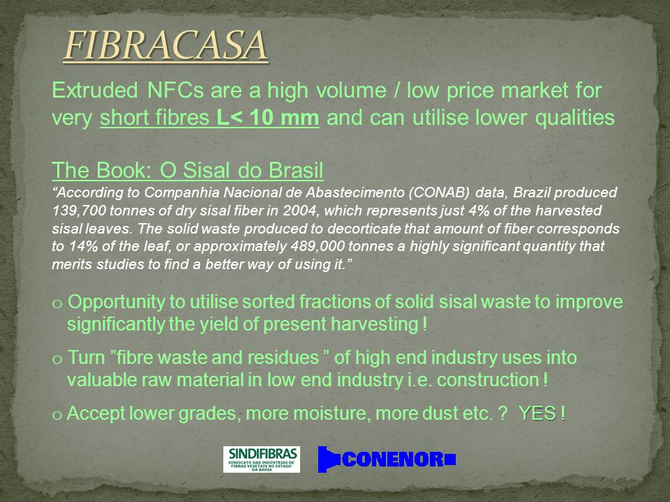 Extruded NFCs are a high volume / low price market for very short fibres L< 10 mm and can utilise lower qualities The Book: O Sisal do Brasil According to Companhia Nacional de Abastecimento (CONAB) data, Brazil produced 139,700 tonnes of dry sisal fiber in 2004, which represents just 4% of the harvested sisal leaves.