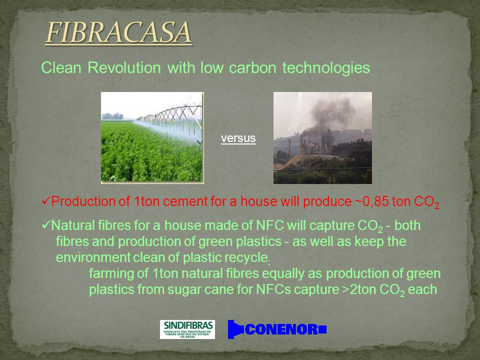 Clean Revolution with low carbon technologies versus Production of 1ton cement for a house will produce ~0,85 ton CO 2 Natural fibres for a house made of NFC will capture CO 2 - both fibres and production of green plastics - as well as keep the environment clean of plastic recycle ; farming of 1ton natural fibres equally as production of green plastics from sugar cane for NFCs capture >2ton CO 2 each