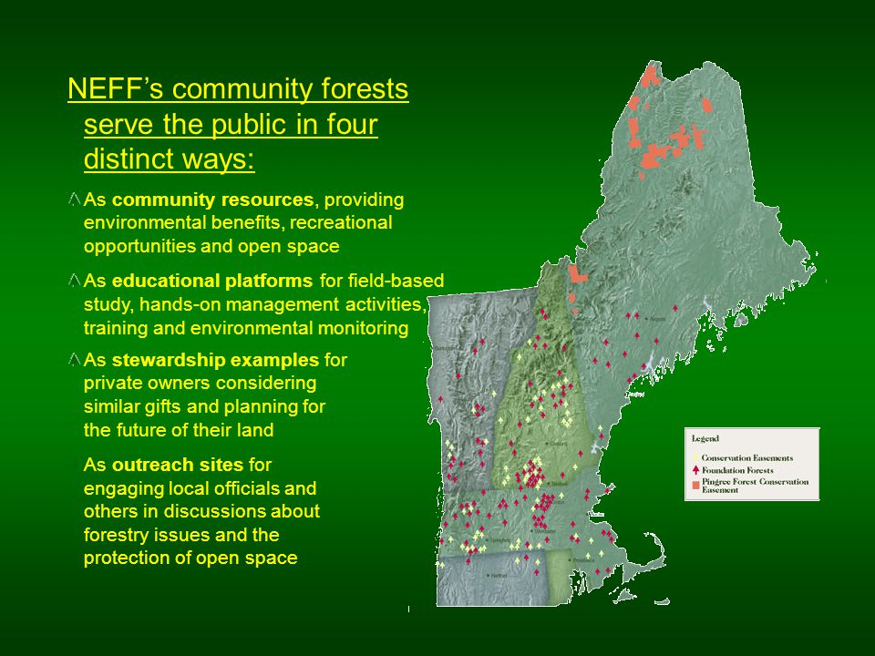NEFF's community forests serve the public in four distinct ways: As community resources, providing environmental benefits, recreational opportunities and open space As educational platforms for field-based study, hands-on management activities, training and environmental monitoring As stewardship examples for private owners considering similar gifts and planning for the future of their land As outreach sites for engaging local officials and others in discussions about forestry issues and the protection of open space