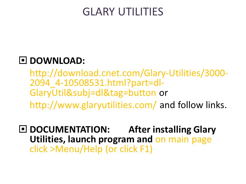 GLARY UTILITIES  DOWNLOAD: http://download.cnet.com/Glary-Utilities/3000- 2094_4-10508531.html part=dl- GlaryUtil&subj=dl&tag=button or http://www.glaryutilities.com/ and follow links.
