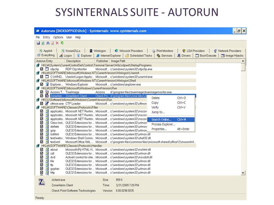 SYSINTERNALS SUITE - AUTORUN