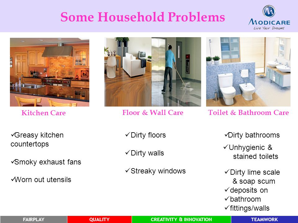 FAIRPLAYQUALITYCREATIVITY & INNOVATIONTEAMWORKFAIRPLAYQUALITYCREATIVITY & INNOVATIONTEAMWORK Dirty bathrooms Unhygienic & stained toilets Dirty lime scale & soap scum deposits on bathroom fittings/walls Some Household Problems Greasy kitchen countertops Smoky exhaust fans Worn out utensils Dirty floors Dirty walls Streaky windows Kitchen Care Floor & Wall CareToilet & Bathroom Care