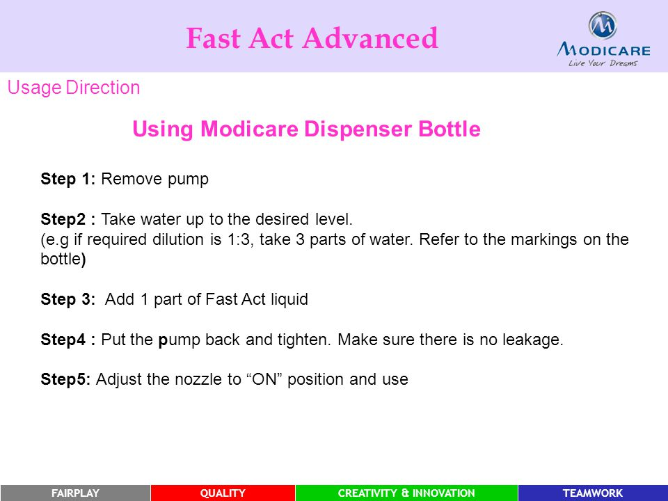 FAIRPLAYQUALITYCREATIVITY & INNOVATIONTEAMWORK Using Modicare Dispenser Bottle Step 1: Remove pump Step2 : Take water up to the desired level.