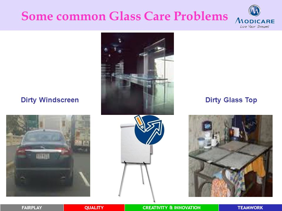 FAIRPLAYQUALITYCREATIVITY & INNOVATIONTEAMWORK Some common Glass Care Problems Dirty Glass Top Dirty Windscreen