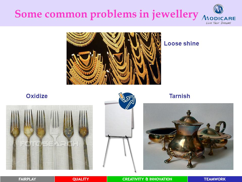 FAIRPLAYQUALITYCREATIVITY & INNOVATIONTEAMWORK Some common problems in jewellery Tarnish Oxidize Loose shine