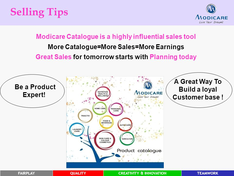 FAIRPLAYQUALITYCREATIVITY & INNOVATIONTEAMWORK Selling Tips A Great Way To Build a loyal Customer base .