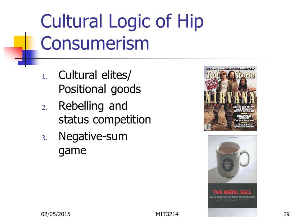 Cultural Logic of Hip Consumerism 1. Cultural elites/ Positional goods 2.