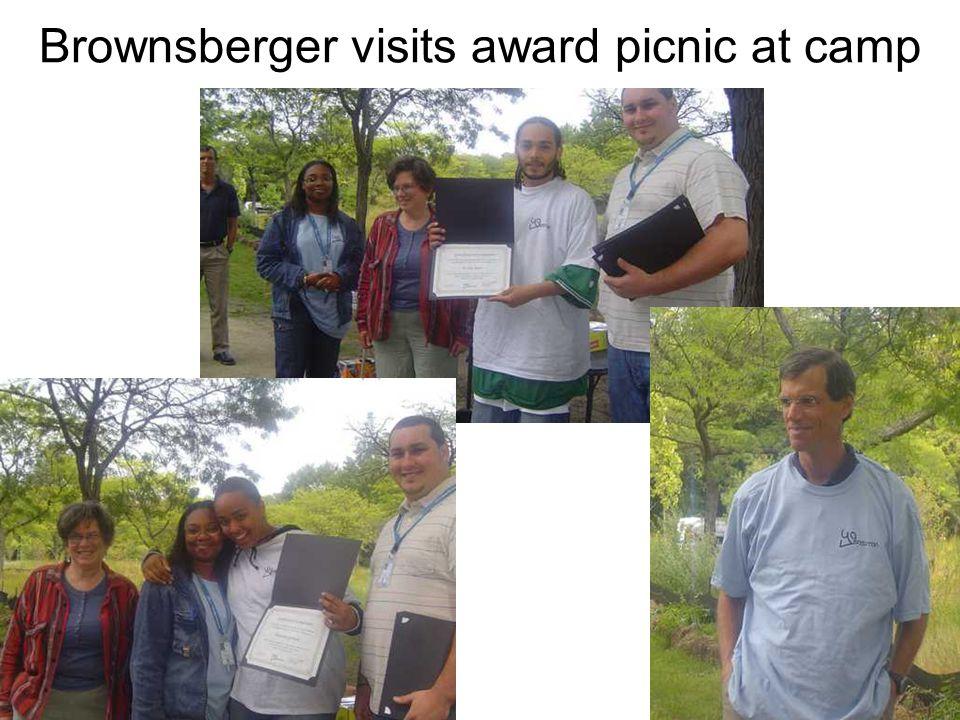 Brownsberger visits award picnic at camp