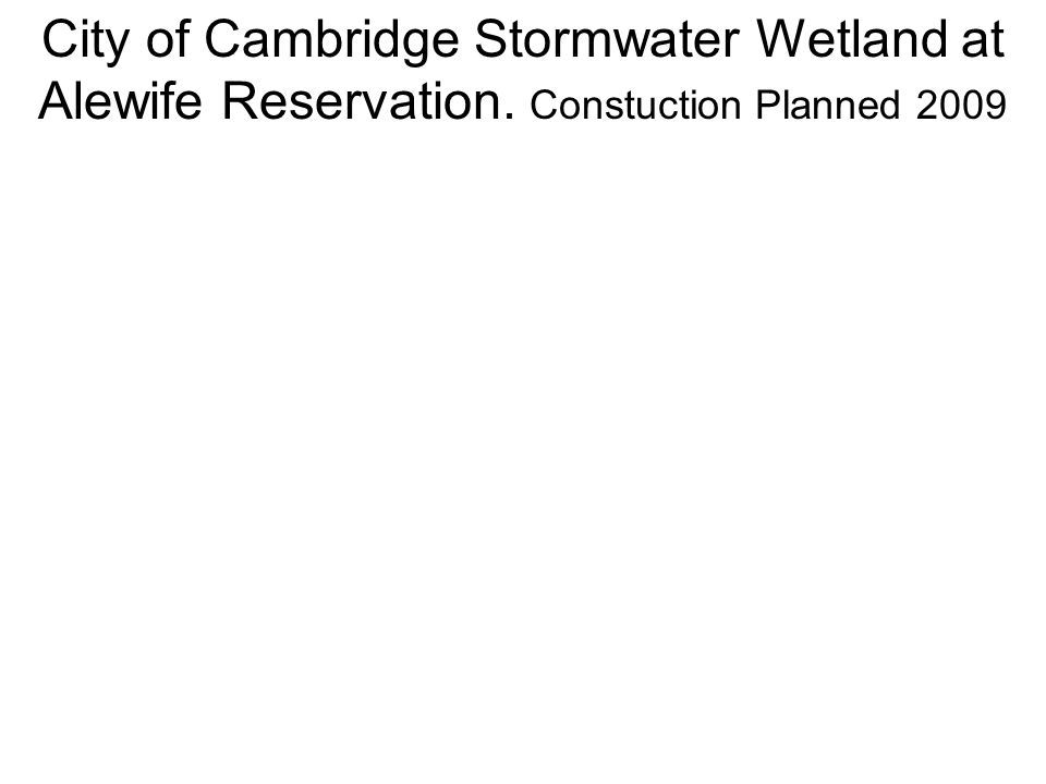 City of Cambridge Stormwater Wetland at Alewife Reservation. Constuction Planned 2009